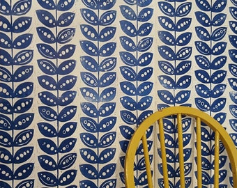 Hand printed, artisan wallpaper,lino cut, wallpaer, retro wallpaper,scandi design wallpaper, blue wallpaper,unique wallpaper,wall art, uk