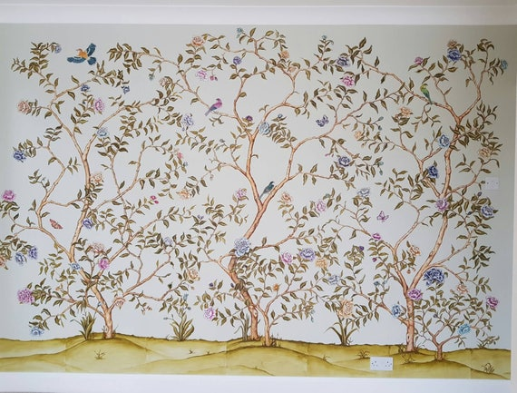 Chinoiserie Wallpaper Chinoiserie Mural Hand Painted Etsy