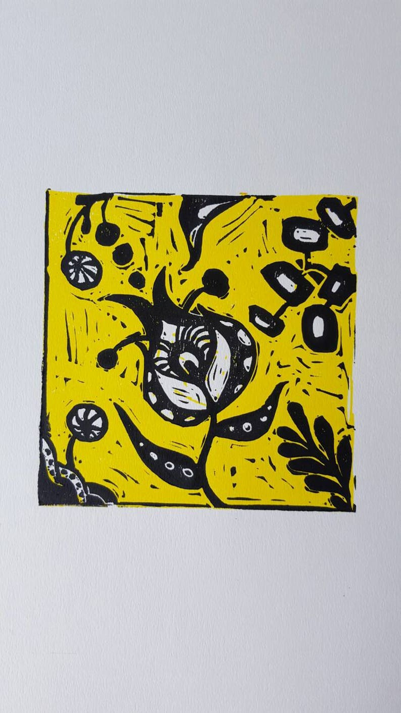 yellow cards blank card Hand printed notelets lino print card styalised print greetings cards Hand printed cards yellow linocut print