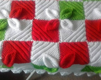 Hand Knitted Baby Blanket,  Xmas Leaves, Afgan,Throw