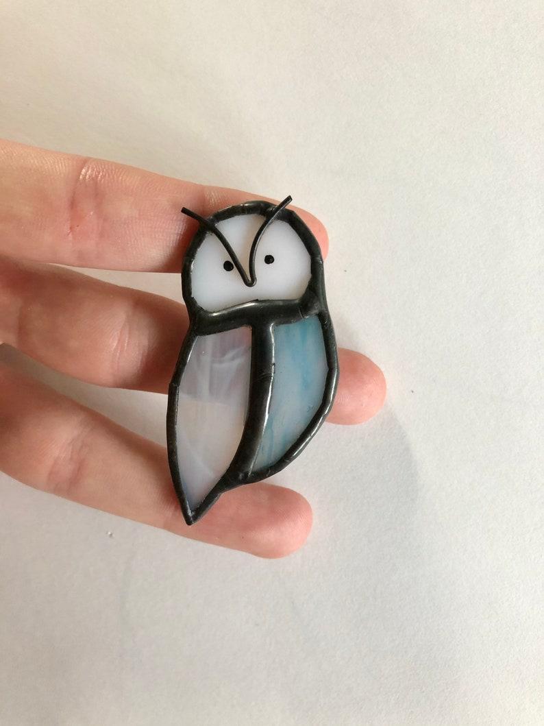 Owl Brooch STAINED GLASS HeikkiHandcraft