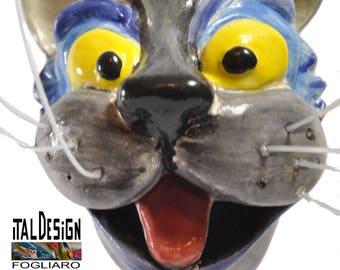 Collectible ceramic sculpture signed catfish italdesignfogliaro-Italian ceramics-art surrealism art modern