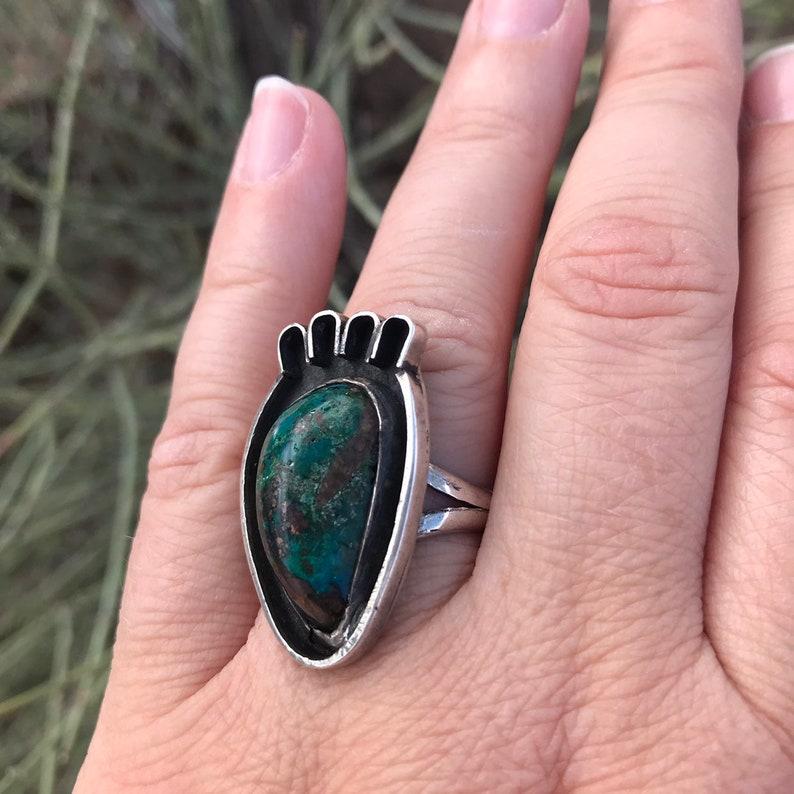 Bear Paw Ring Turquoise Ring Green Turquoise Ring