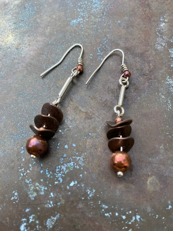 Etched Copper Earring green beeds Gift for Her Copper Necklace purple beads Etched Copper Necklace Copper Earrnings Bohemian