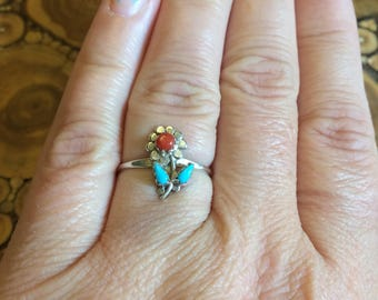 Navajo turquoise and coral flower ring