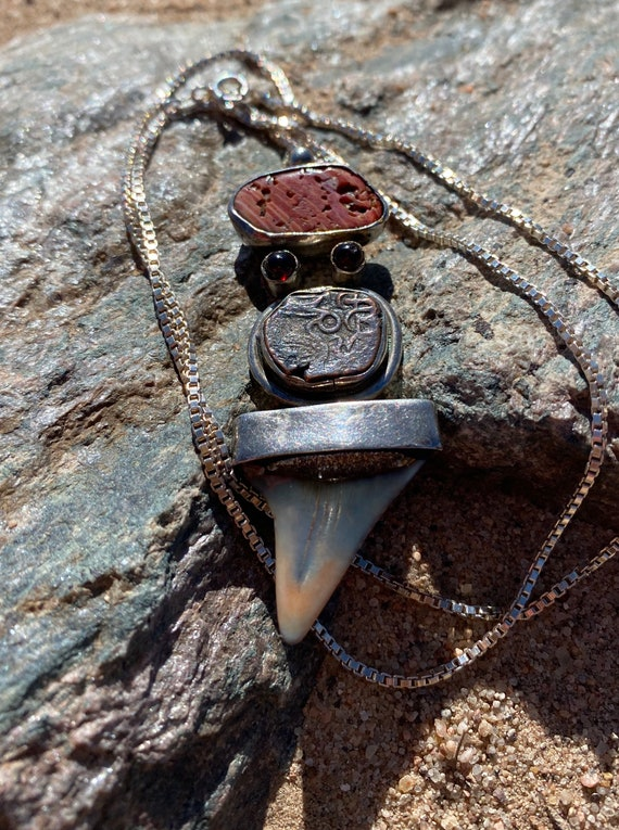 Boho Shark Tooth Sterling Silver Necklace