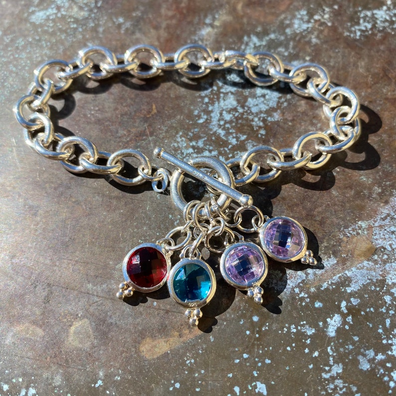 Sterling silver charm crystal bracelet