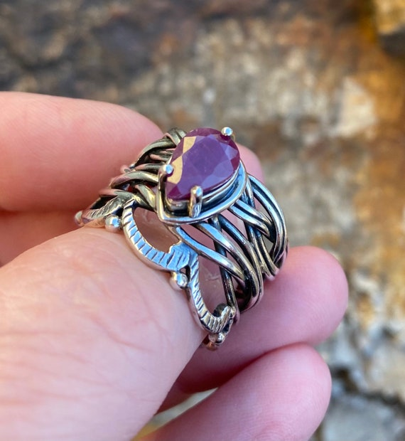 Faceted Ruby Sterling Silver Ring - image 1