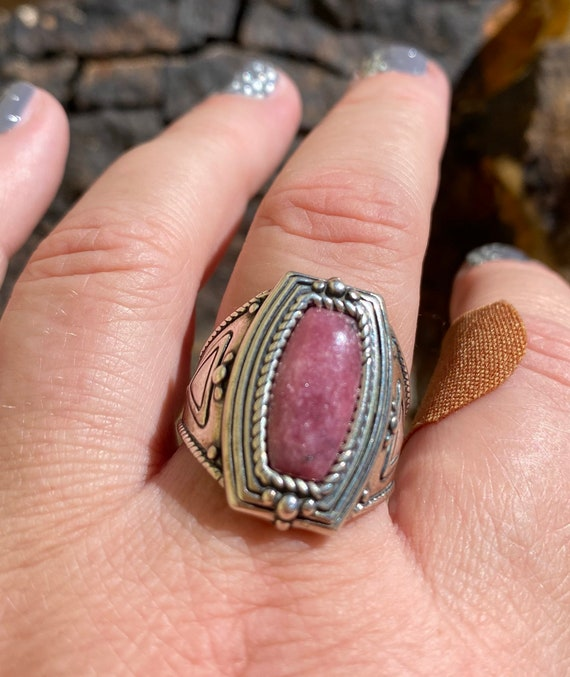 Southwestern Rhodonite Sterling Silver Ring