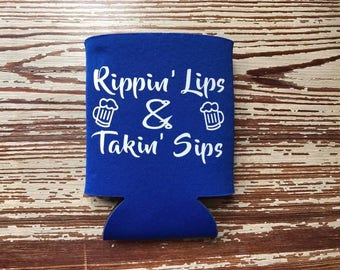 Rippin' Lips and Takin' Sips Beverage Holder / Fishing Can Insulator / Funny Fishing Can Holder / Personalized Beverage Insulator