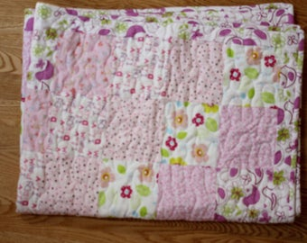 CLEARANCE!  Flannel Baby Quilt, Baby Girl Quilt, Flannel Quilt (price reduced)