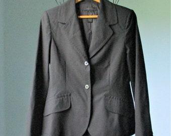 Nylon Lined Size 8 Vintage 1990s In Moda Green Polka Dot Stretch Blazer Slim Fit Retro