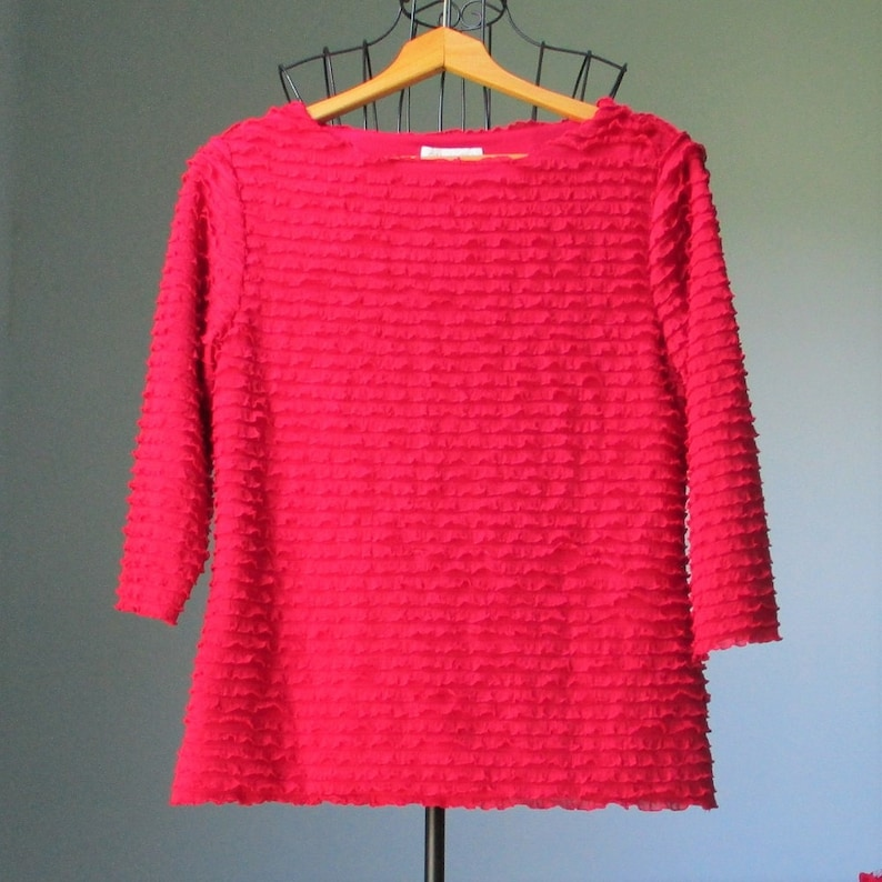 Coldwater Creek top S 6-8 red polyester spandex lined knit ruffles frills fancy