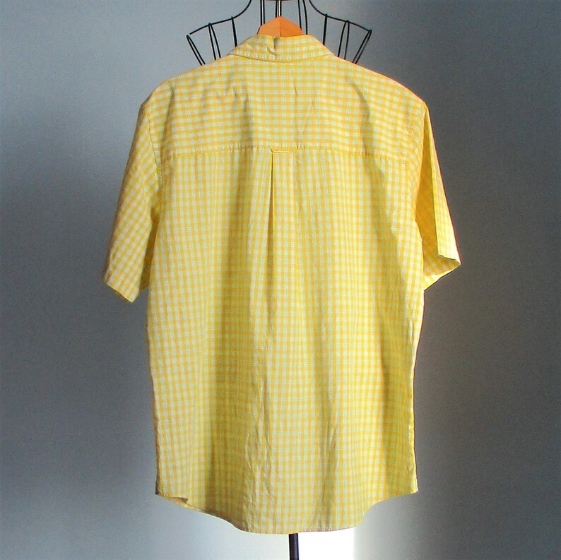 CHAPS men/'s XL short sleeve plaid cotton polyester easy care blue yellow Stewart Seeds