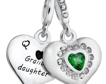 14db8a79c 925 Sterling Silver Grandmother & Granddaughter Love Heart Green Clear CZ  Dangle European Bead Charm - 1PC