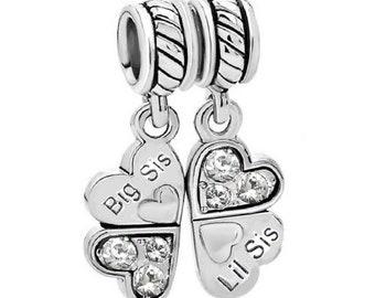 6ad183cd2 925 Sterling Silver Rhinestone Big/Little Sis Sister Love Heart Pendant  Dangle European Bead Charm
