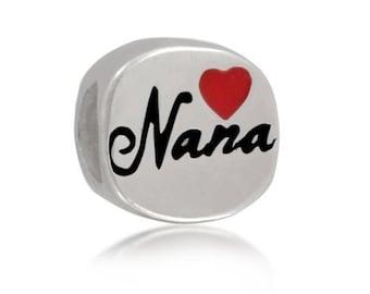 df9c25327 925 Sterling Silver Love Nana Great Grandma Red Heart Enamel Bead Charm