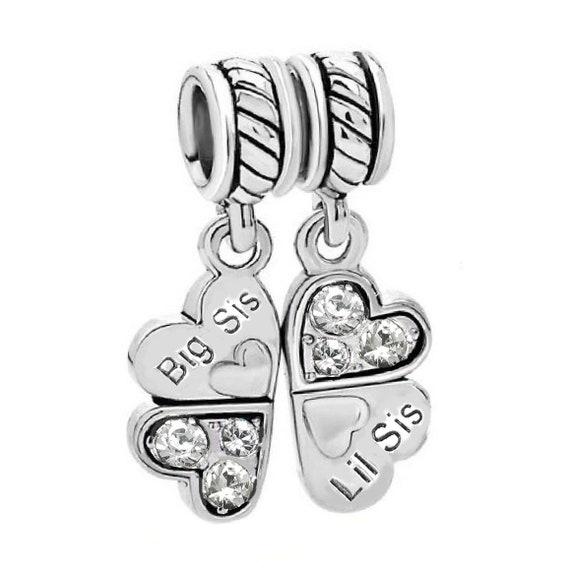 Little Brother Heart Older Sister Sibling Dangle Charm for European Bracelets