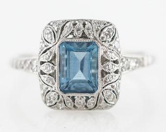 Cocktail Ring Modern .64 Emerald Cut Aquamarine in Platinum