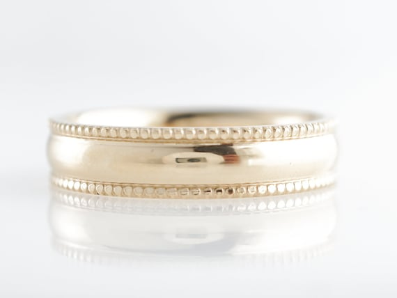 14K Rounded Milgrain Trim Classic Wedding Band Ring Size 9.75 Yellow Gold