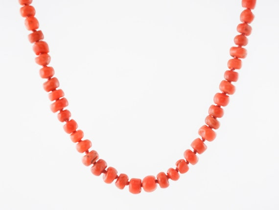 Vintage Coral Beaded Necklace Mid-Century