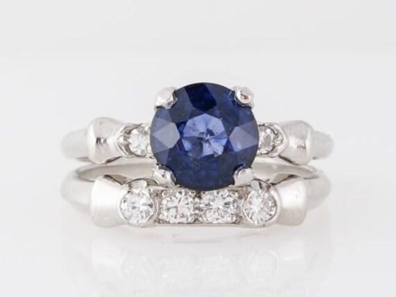 1930's Engagement Ring Set w/ Sapphire & Diamonds