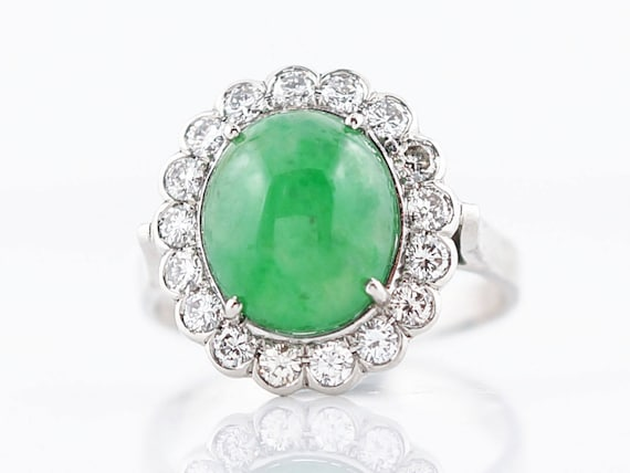 Modern Right Hand Ring GIA 3.95 Cabochon Cut Jade