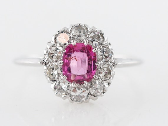 Vintage ART DECO Pink Sapphire Engagement Ring in White Gold