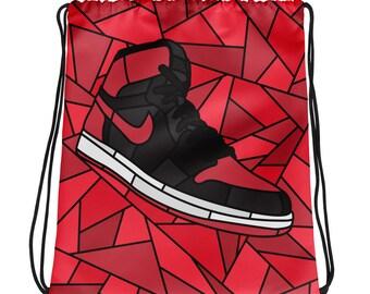 2bdb11198f0 Jordan Bred 1 Drawstring bag, Sneaker Bag, Workout Bag