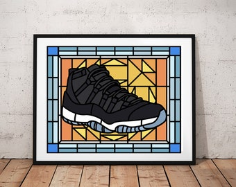 innovative design 63773 1f707 Air Jordan, Jordan 11 Space Jam, Stained Glass, Jordan wall Art, Sneaker Art,  SneakerHead, Kids Room, Man Cave, Wall Art Poster Print