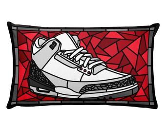 quality design 54d58 c8625 Sneaker Art, Jordan 3 White Cement, Sneaker Head Pillow, Stained Glass  Sneaker art, Jordan 3 Pillow, Sneaker Collector Edition.