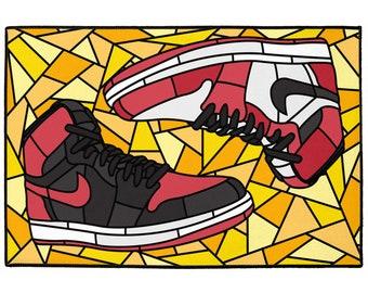 best website 39c3f 1d3e6 Jordan 1, Stained Glass Design, Indoor Outdoor Floor Mats, Sneakerhead  Decor, 24
