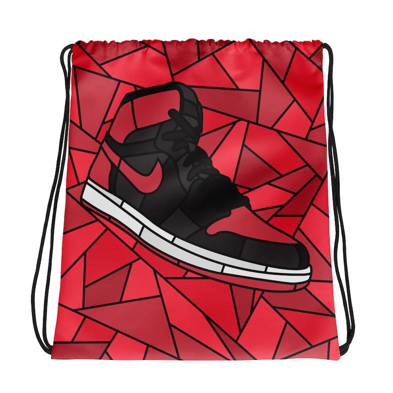 828d1a5e6bb Jordan Bred 1 Drawstring bag Sneaker Bag Workout Bag | Etsy