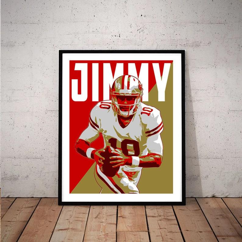 online store fdce5 f3f2f Jimmy Garoppolo San Francisco 49er, Sports art print Poster, Kids Room  Mancave Football Art