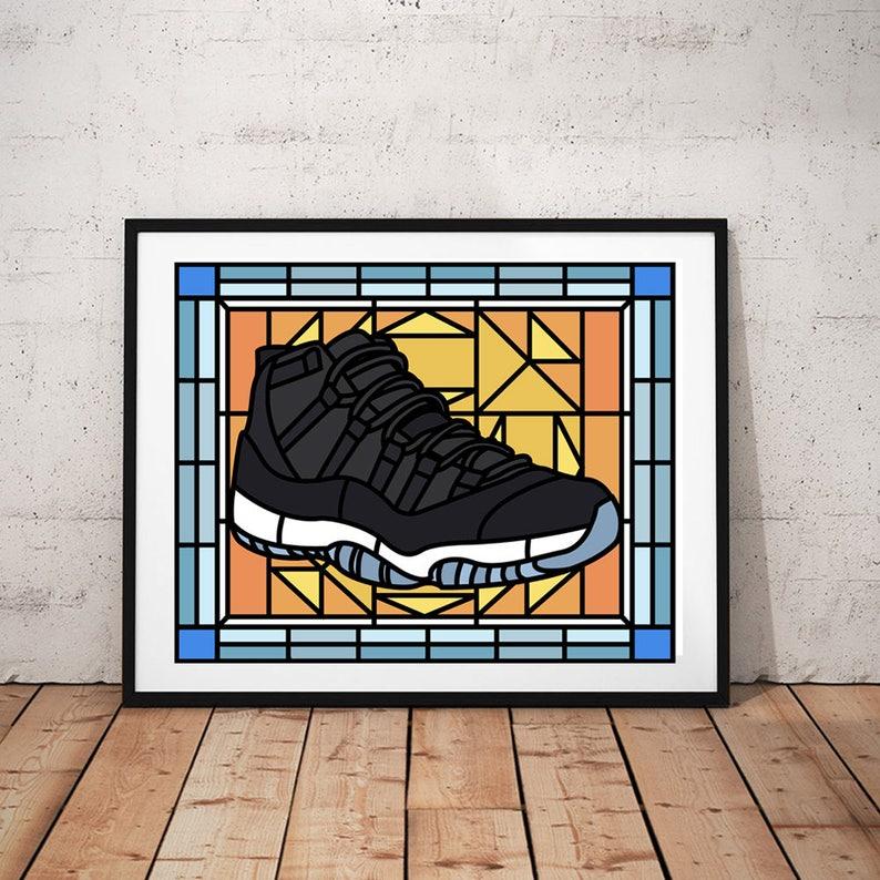 0a64e71ac65 Air Jordan Jordan 11 Space Jam Stained Glass Jordan wall | Etsy