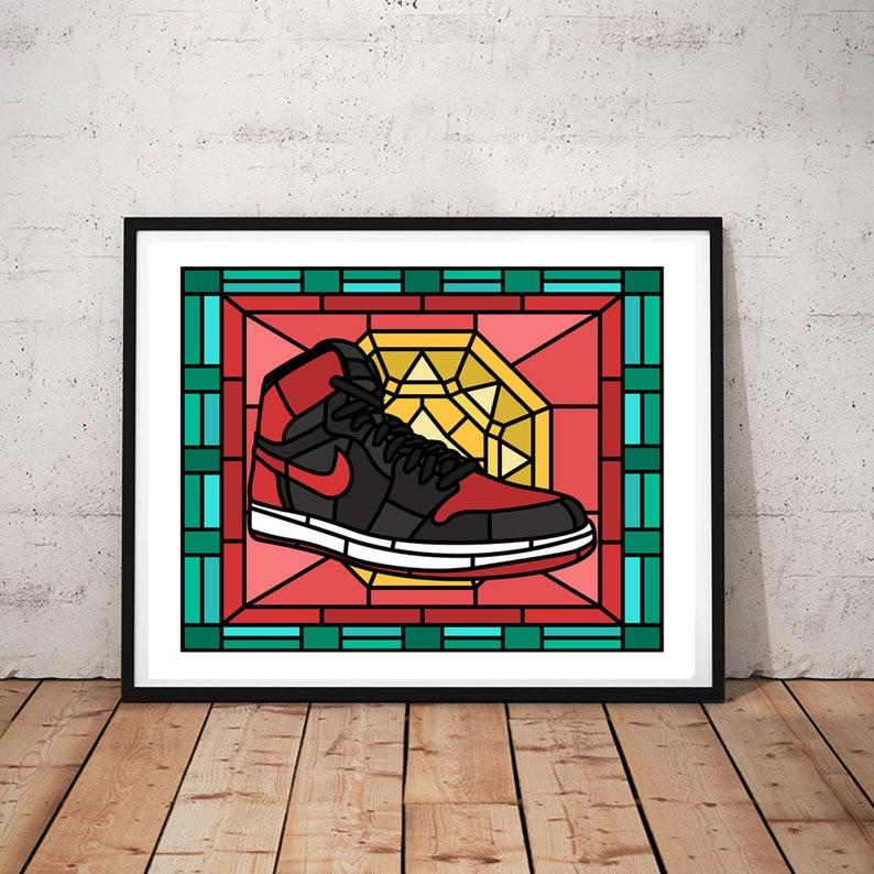 detailed look b4295 003c8 Air Jordan 1 Retro Jordan 1 Bred Sneaker Art Jordan poster   Etsy