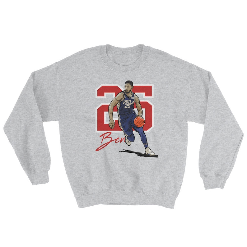best loved 1c232 a54b5 Ben Simmons Sweatshirt, Philadelphia Basketball Sweater