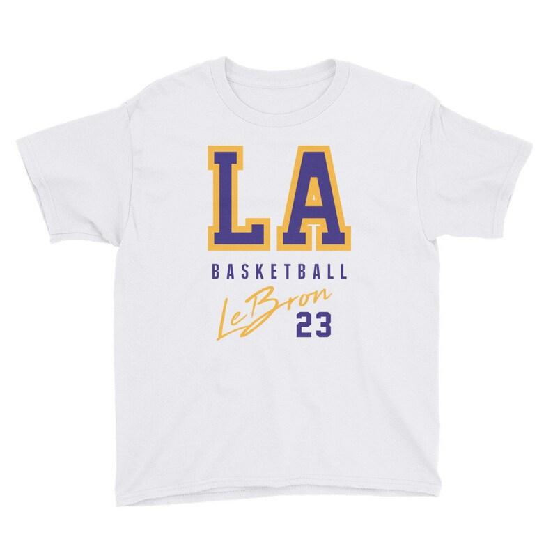 10f71a0ed3ba LA Basketball Lebron James 23 Youth T-Shirt King James