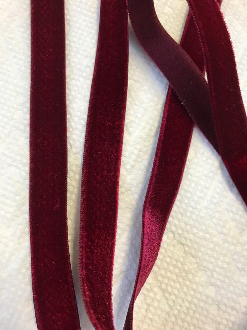 Made in France 10 yards of Velvet Vintage Ribbons Beautiful Garnet colour.