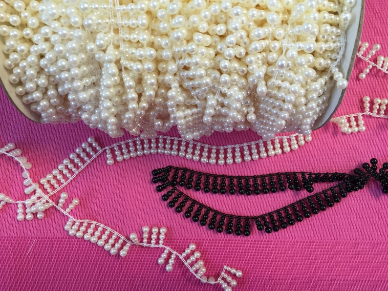 Pearls on roll vintage pearls pearls strands Continuous pearls Vintage Shiny Textured Pearls 36 Yards of Vintage Woven Edge Pearls