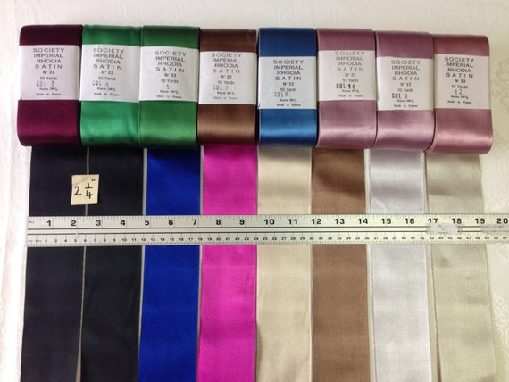 2 18 inches wide France Price is per Yard Society Vintage Two Tone Satin Ribbon with Black and Pink