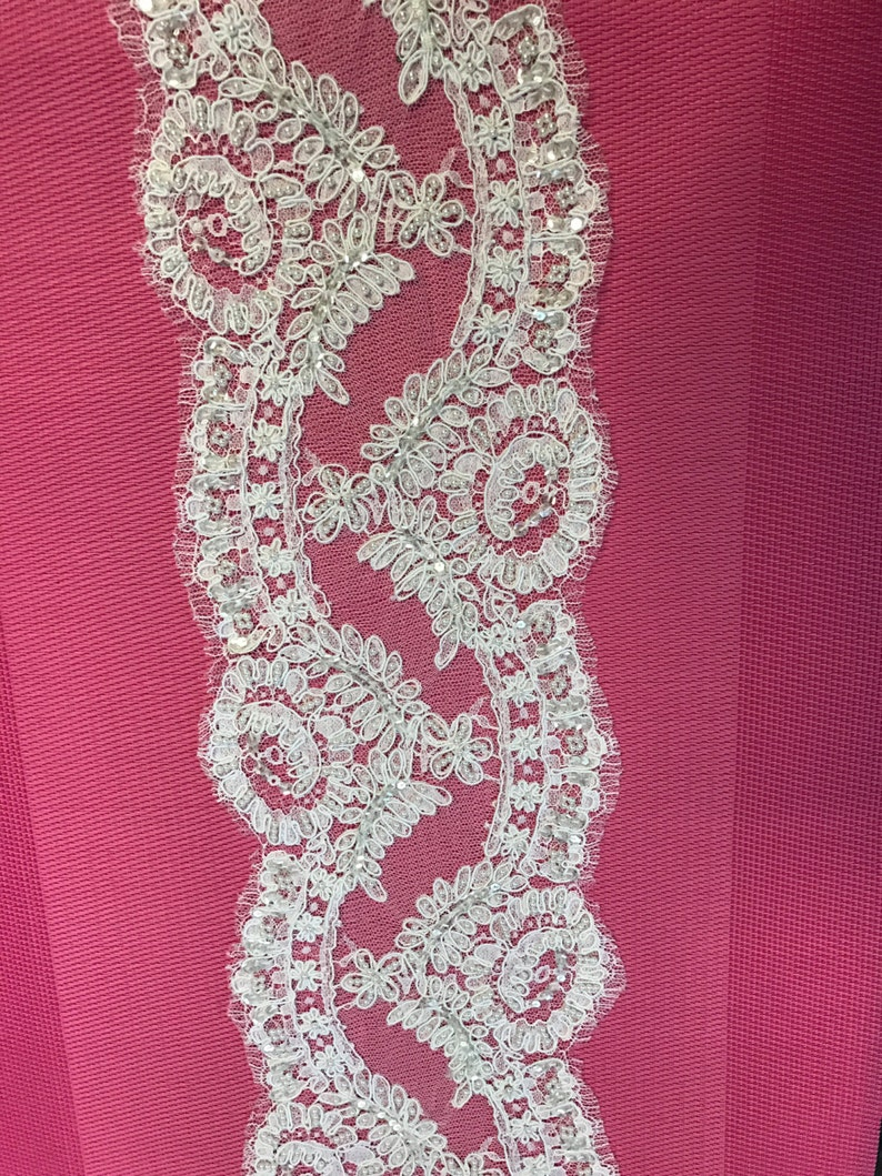 Made in France Sold by  Yards. Vintage FrenchLace.White Lace Trim for Bridal Veil Lace Trim