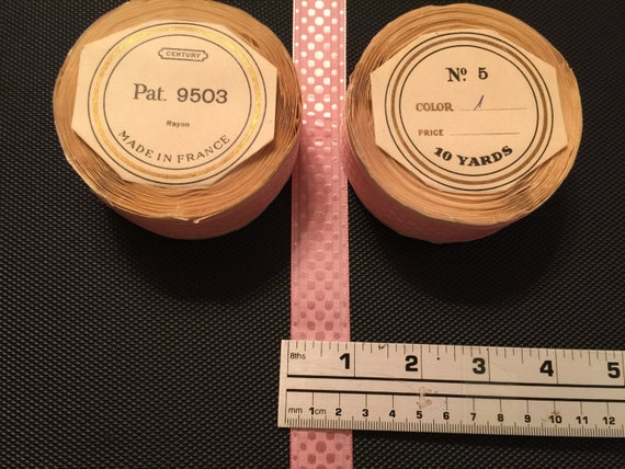 10 verges de pois, ruban à pois rose. Ruban Vintage, ruban à pois, de ruban de rayonne 1 1/2 ou 7/8