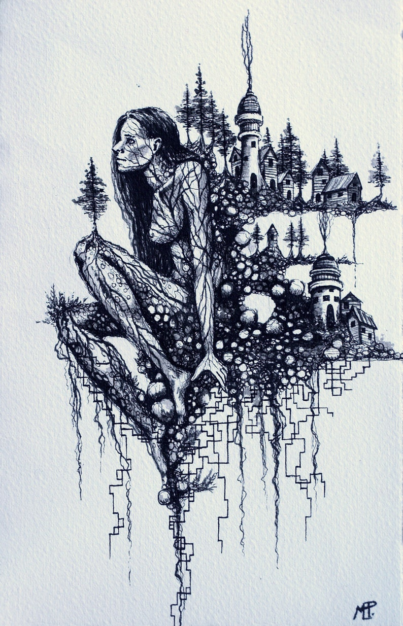 Pen And Ink Drawing Fantasy Illustration Fairy Goddess