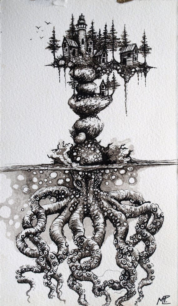 Octopus Illustration Pen And Ink Fantasy Drawing City