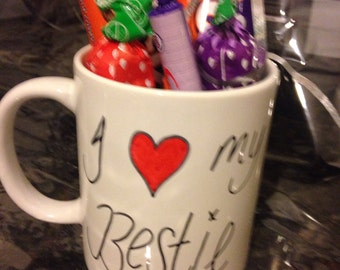 I love my bestie novelty valentines or gift mug with delicious chocolate treats
