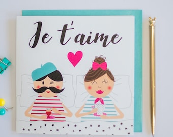 Love greeting card Je t'aime