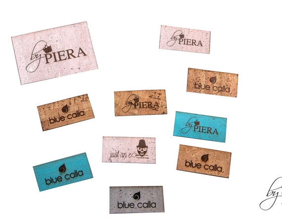 100 LABELS - 2x1 RECTANGLE cork labels, cork labels, sewing labels, custom sew labels, cork sew labels, engraved labels