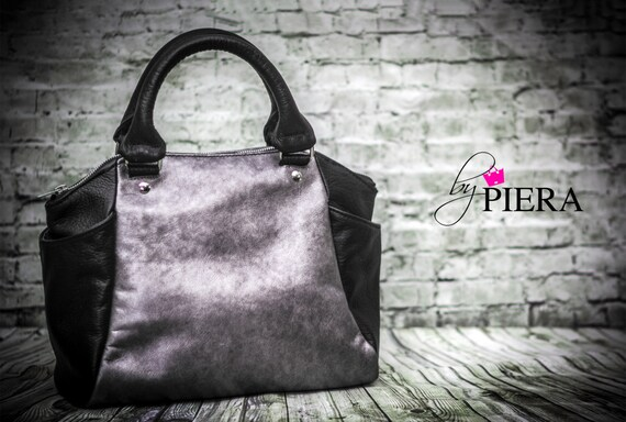 leather, metallic, purple, satchel, handbag, black, silver, purple, stencil