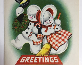 Vintage Snowman and Snow Woman Christmas/New Years Card 1950's